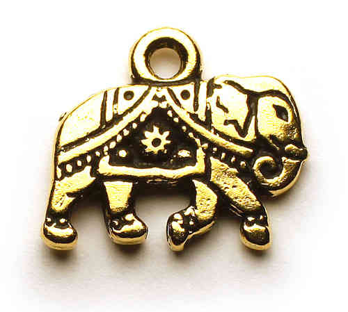 Elefant, altgold, 12 x 14 mm