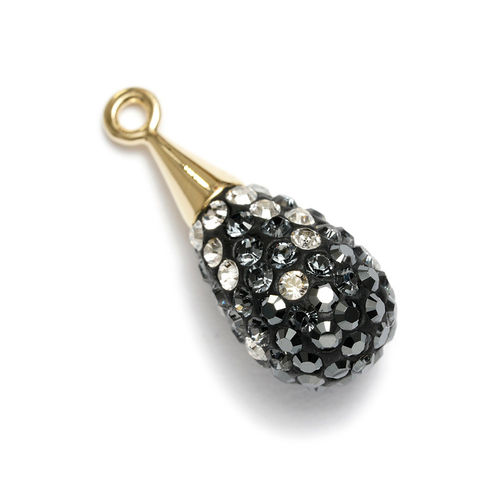 Swarovski Sternenglanz, Pavé Drop Pendant, black diamond- crystal multi, 20 mm